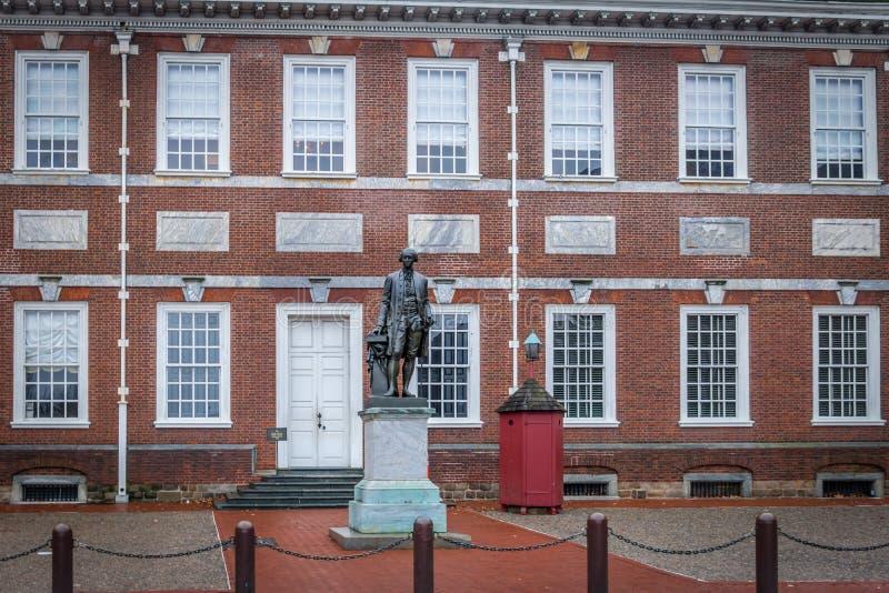 乔治・华盛顿雕象在美国独立纪念馆-费城,宾夕法尼亚,美国 库存图片