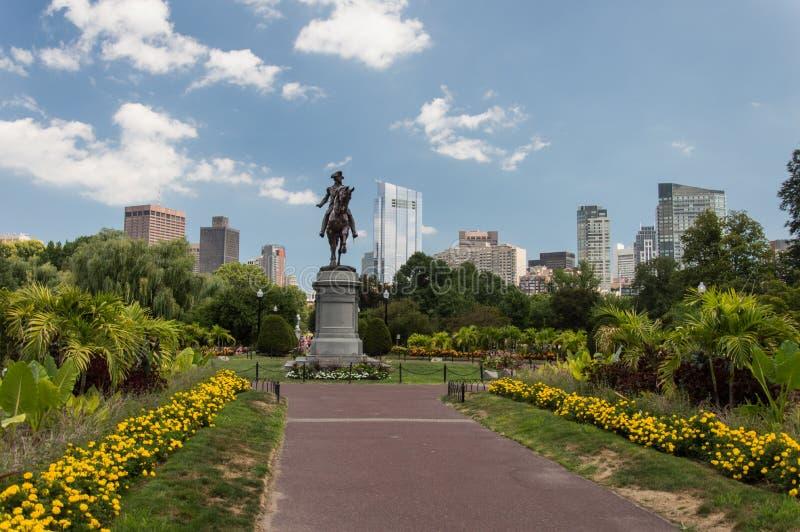 乔治・华盛顿雕象,波士顿公园 免版税库存照片