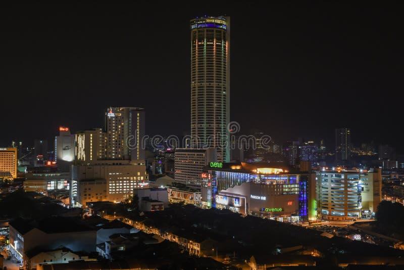 乔治城、Komtar塔和城市视图 免版税库存照片