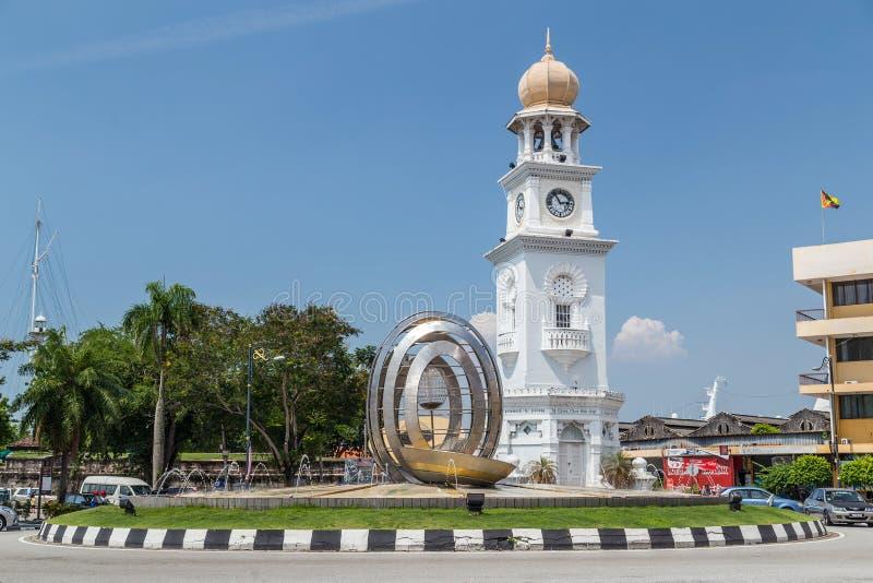 乔治城,槟榔岛/马来西亚-大约2015年10月:女王维多利亚纪念Clocktower在乔治城,槟榔岛,马来西亚 库存图片