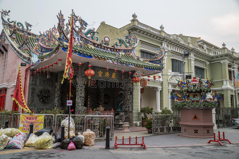 乔治城,槟榔岛/马来西亚-大约2015年10月:狂吠Kongsi寺庙在乔治城,槟榔岛,马来西亚 免版税库存图片