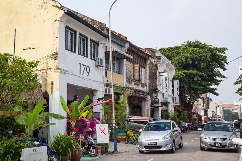 乔治城,槟榔岛/马来西亚-大约2015年10月:老乔治城,槟榔岛,马来西亚街道和建筑学  免版税库存图片