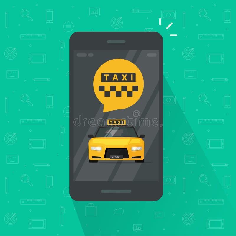 乘出租车在手机传染媒介例证,互联网网上出租汽车平的设计的智能手机app的服务 库存例证