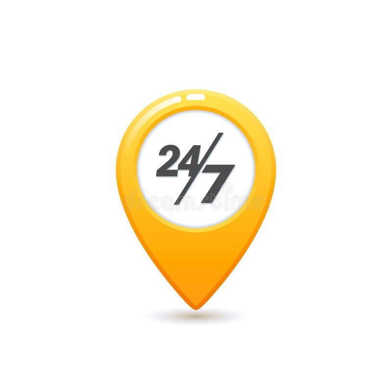 乘出租车服务24 7象,平的样式黄色出租汽车象 有24 7封信件标志的地图别针 在白色背景的黄色出租汽车象 向量例证