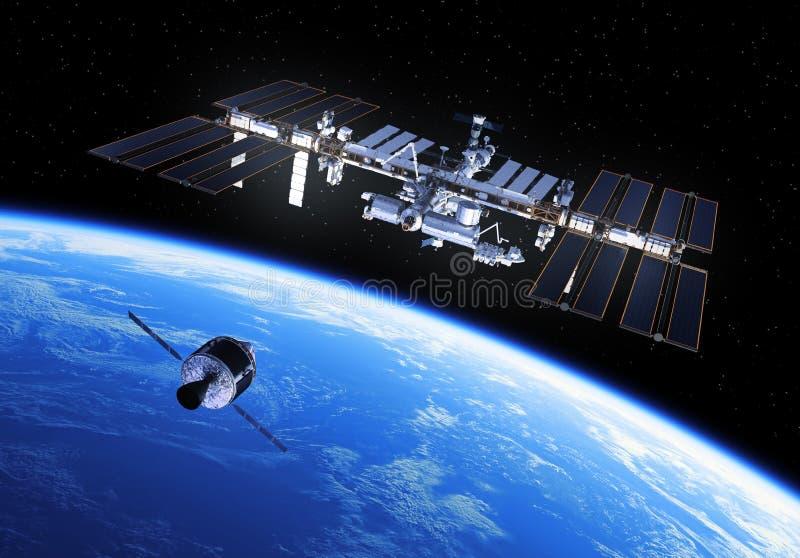 乘员组探险车准备靠码头与国际空间站 向量例证
