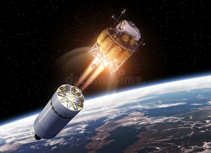 乘员组在空间的探险车 向量例证