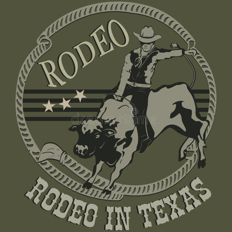 乘坐一个狂放的公牛剪影的圈地牛仔 皇族释放例证