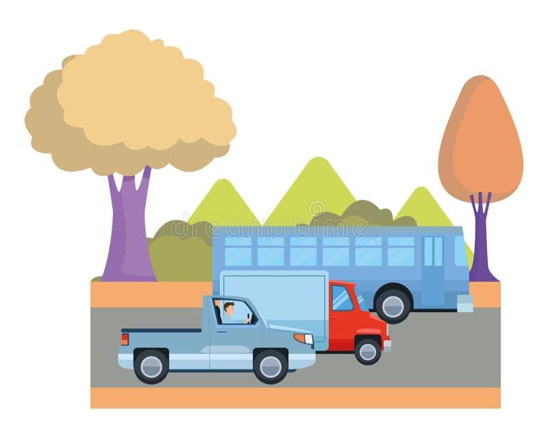 乘坐动画片的运输和车 皇族释放例证