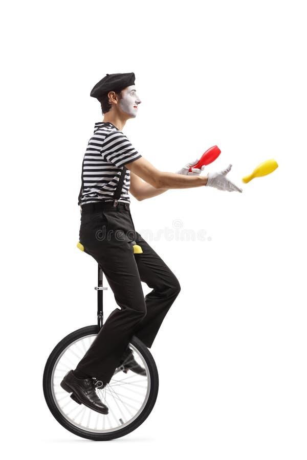 乘坐单轮脚踏车和投掷塑料俱乐部的笑剧变戏法者 库存照片