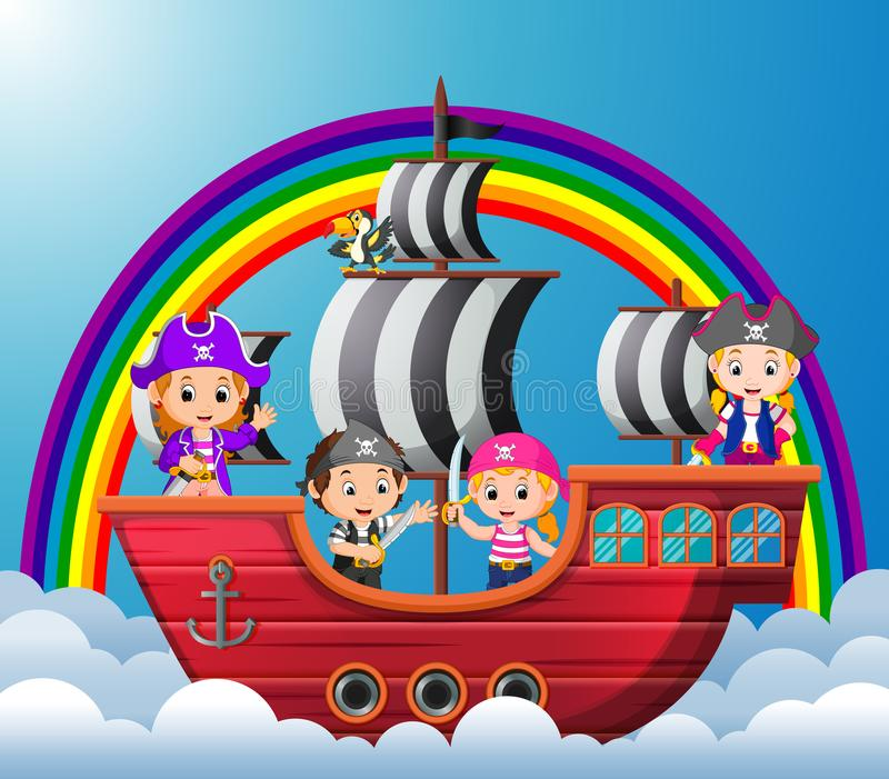 乘坐在北欧海盗的孩子在天空运送 库存例证