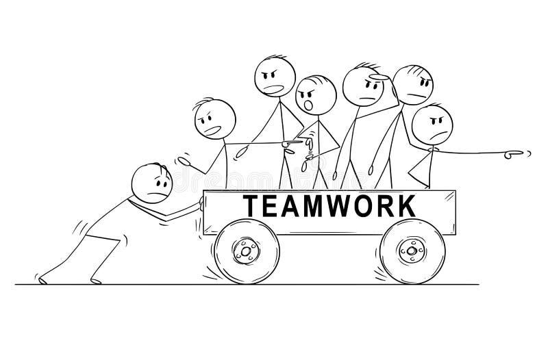 乘坐在推车推挤由一个人和抱怨速度的人小组或队动画片或商人 库存例证