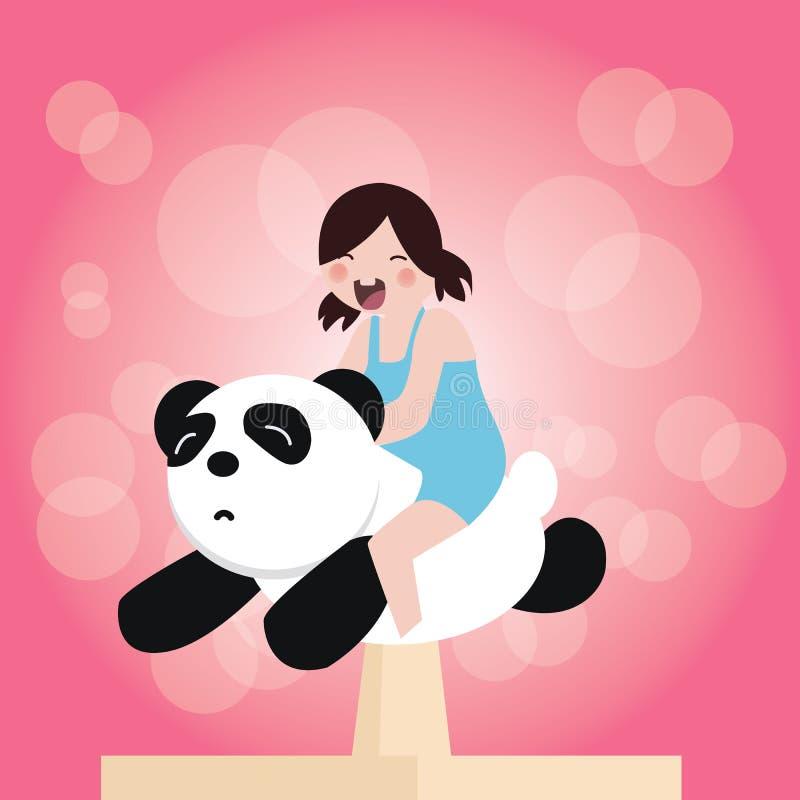 乘坐在玩具熊猫愉快乐趣微笑顶部的逗人喜爱的可爱的小孩女孩 库存例证