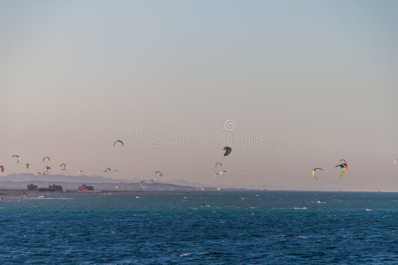 乘坐在红海的风筝冲浪者在日落在埃及 图库摄影