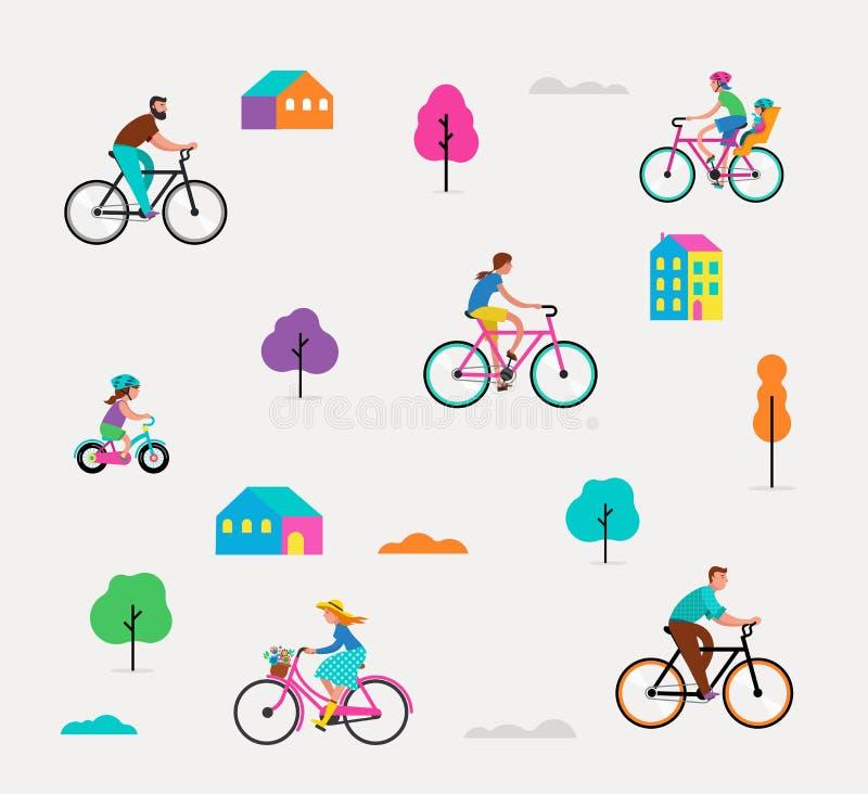 乘坐在自行车的人们在公园,与激活的室外场面 库存例证