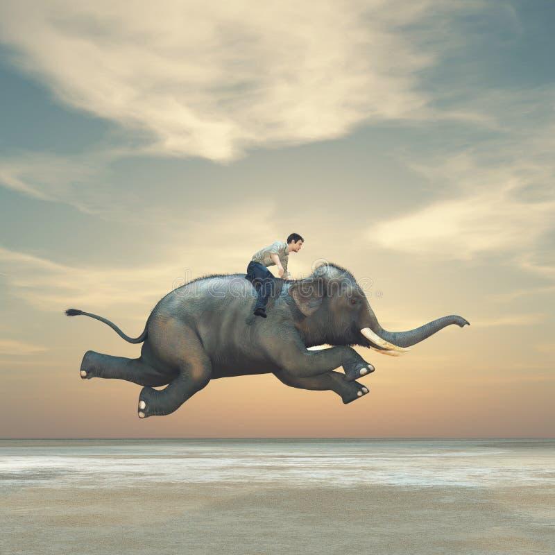 乘坐大象的一个人的超现实的图象 库存图片