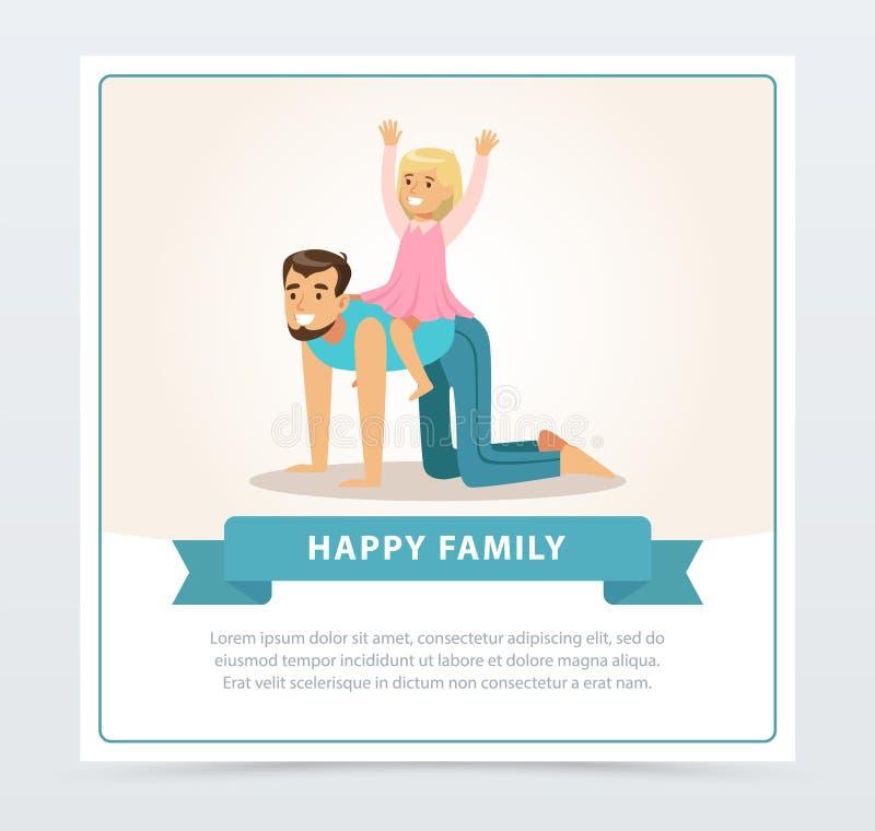 乘坐她的爸爸的小女孩一起喜欢马、获得的爸爸和的女儿乐趣,愉快的家庭横幅平的传染媒介元素为 库存例证