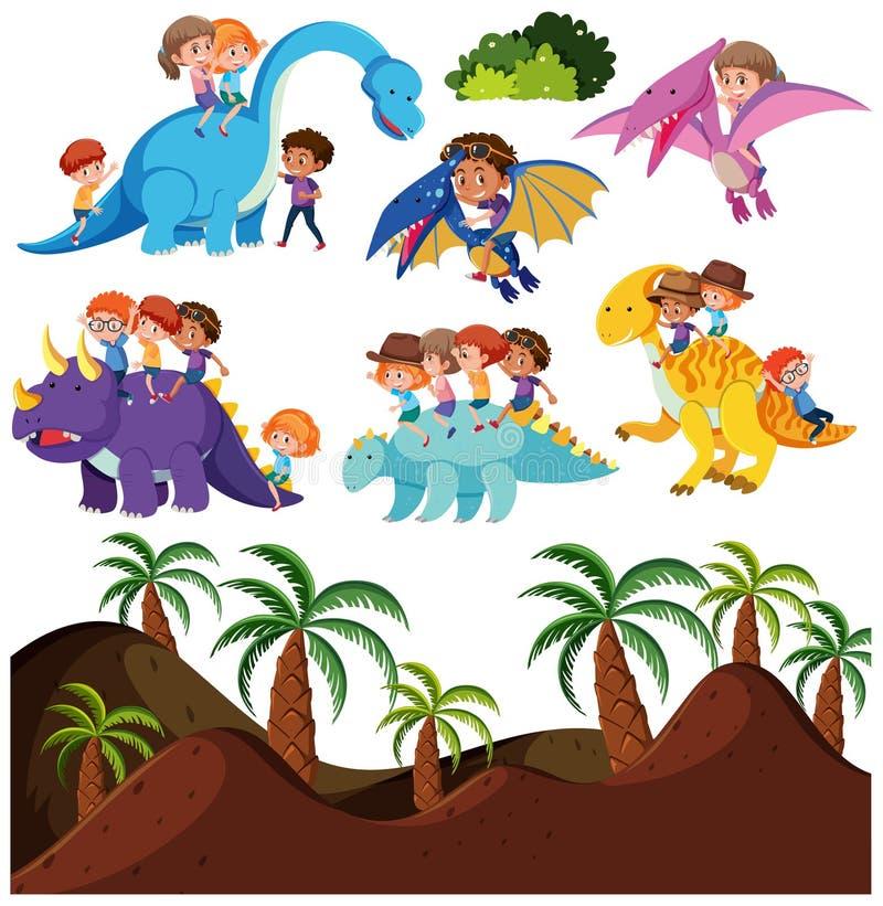 乘坐恐龙和史前背景的孩子 库存例证