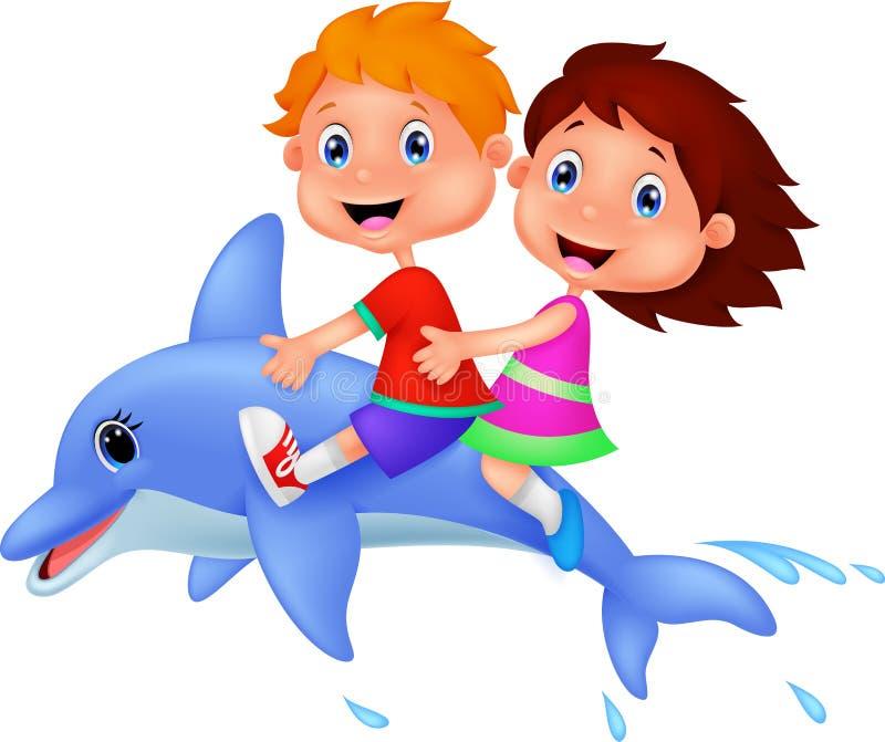 乘坐海豚的男孩和女孩 皇族释放例证