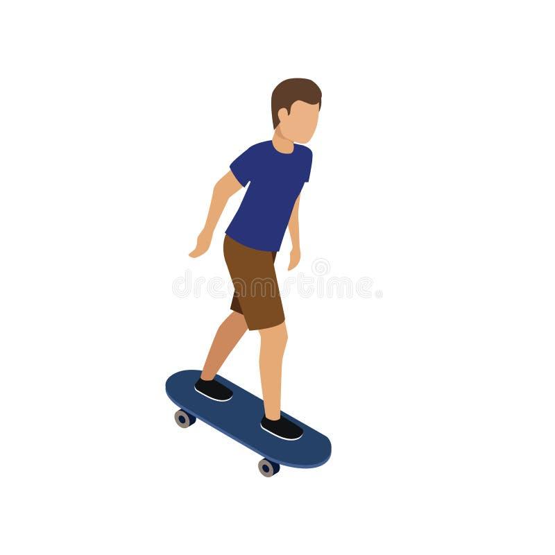 乘坐滑板的人 平的3d等量传染媒介例证 向量例证