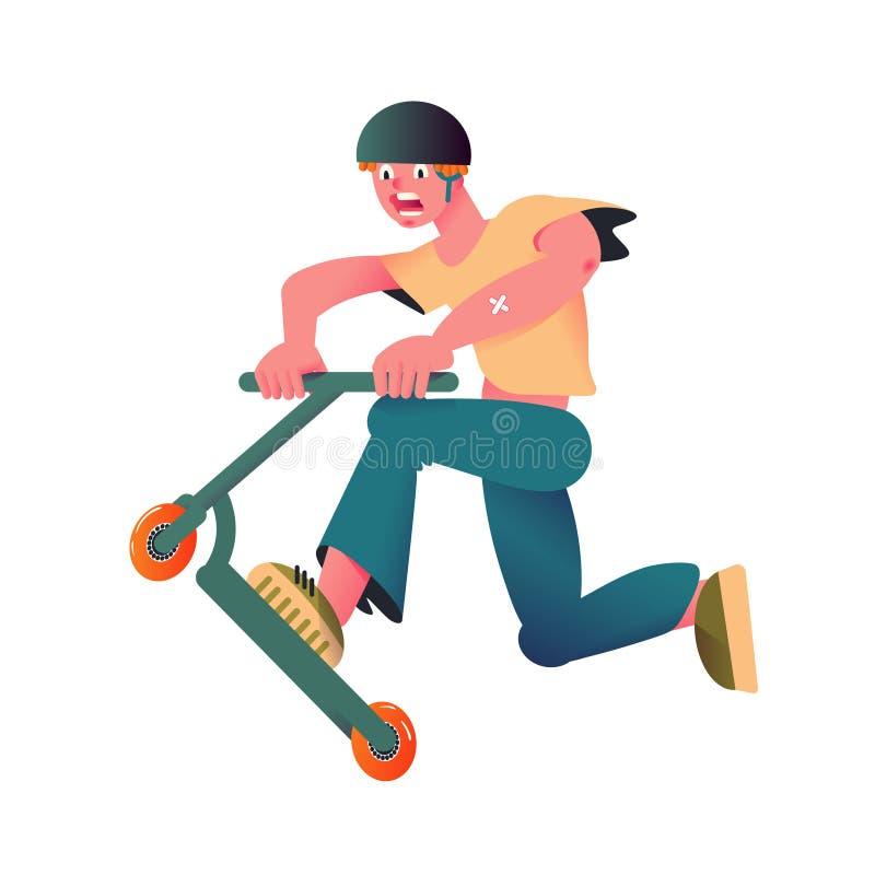 乘坐滑行车的人 盔甲T恤杉和牛仔裤的动态运动员 时髦的平的梯度设计 也corel凹道例证向量 皇族释放例证
