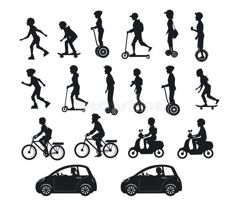 乘坐现代电滑行车,汽车,自行车,滑板, segway, hoverboard的人们、男人和妇女 皇族释放例证
