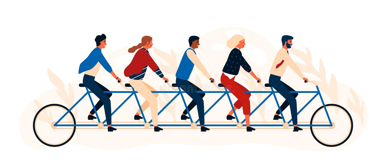 乘坐纵排自行车或五胞胎的小组愉快的人民或朋友 被隔绝的年轻微笑的男人和妇女踩的踏板的quintbike 向量例证