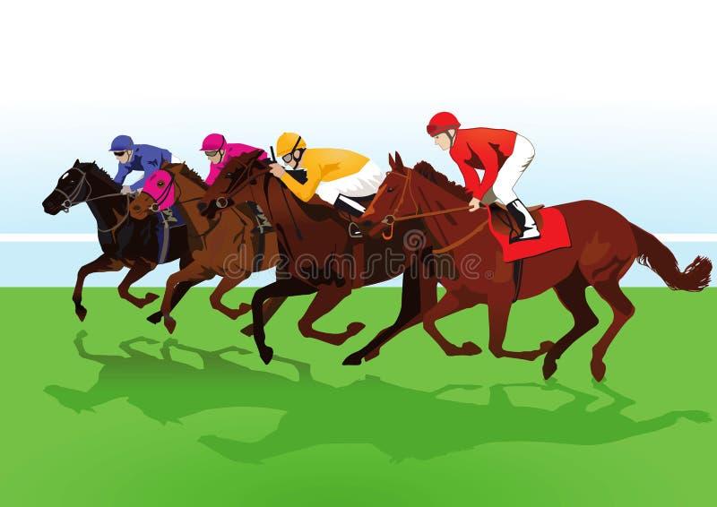 乘坐赛马的骑师 向量例证