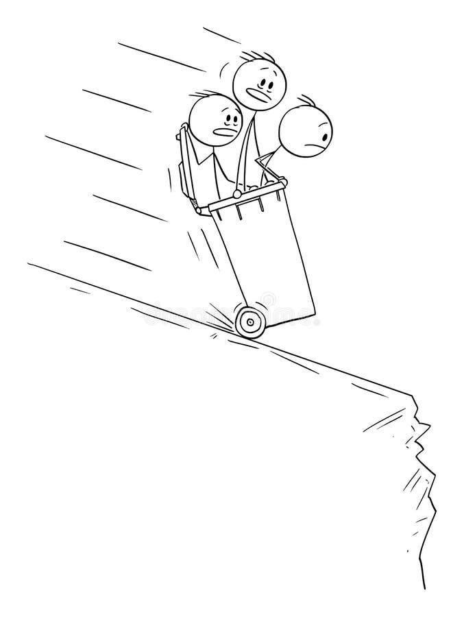 乘坐里面在小山下的自行车前轮离地平衡特技容器的人或商人传染媒介动画片对峡谷 库存例证
