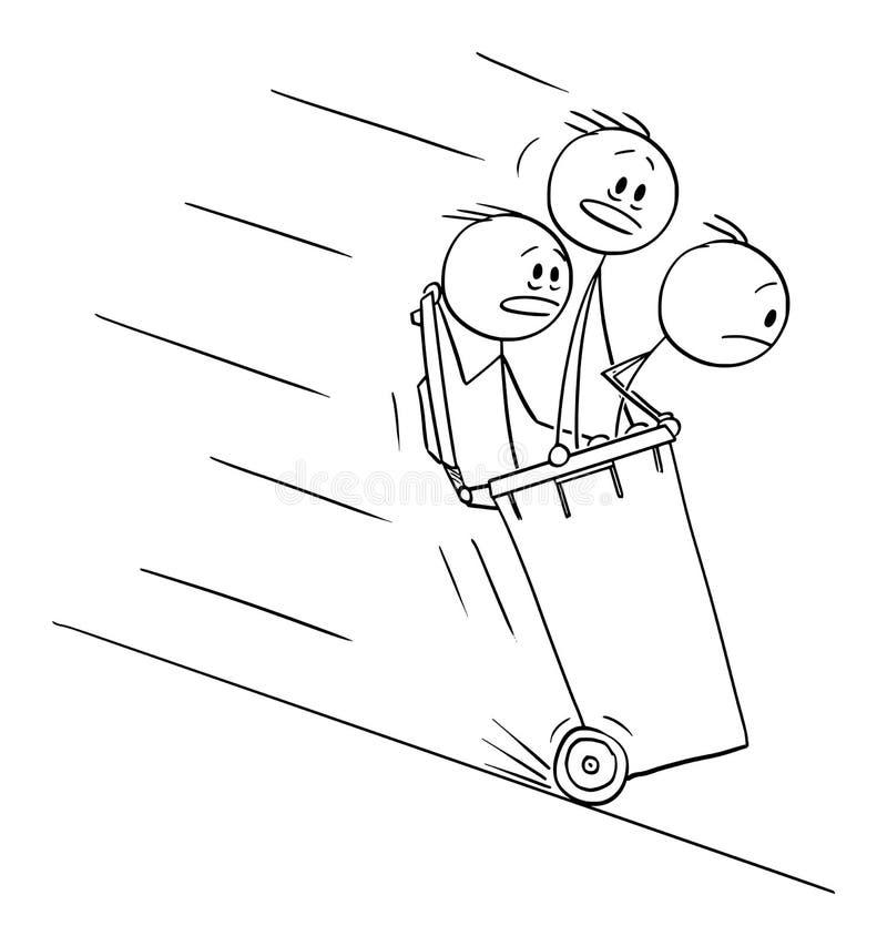 乘坐里面在小山下的自行车前轮离地平衡特技容器的人或商人传染媒介动画片  库存例证