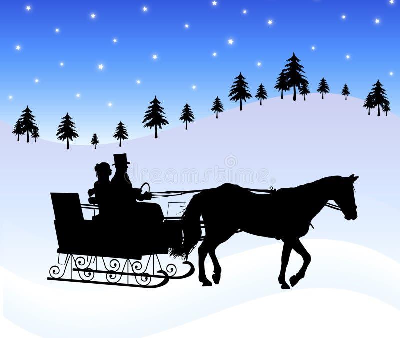 乘坐雪橇 皇族释放例证