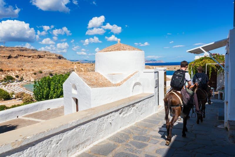 乘坐驴的男孩在他们的途中对Lindos上城,希腊语或 库存照片
