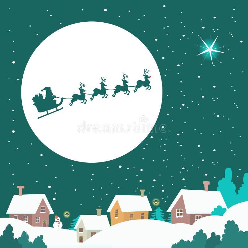 乘坐他的雪橇的圣诞老人 库存例证