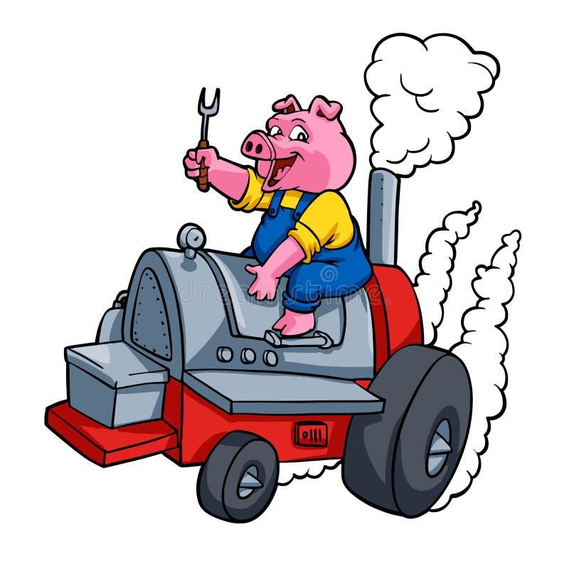 乘坐BBQ barrelChef猪的厨师猪乘坐BBQ桶 向量例证