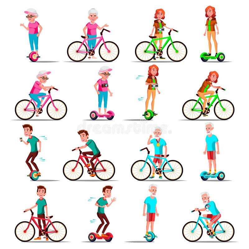 乘坐Hoverboard,自行车传染媒介的人们 城市自行车 户外运动活动 电罗经滑行车 女演员 电的两轮子 库存例证