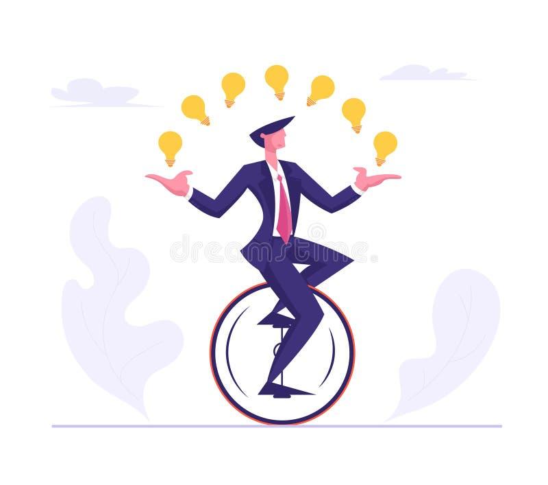乘坐Monowheel的商人佩带的正装玩杂耍与发光的电灯泡 商人字符赛跑 向量例证