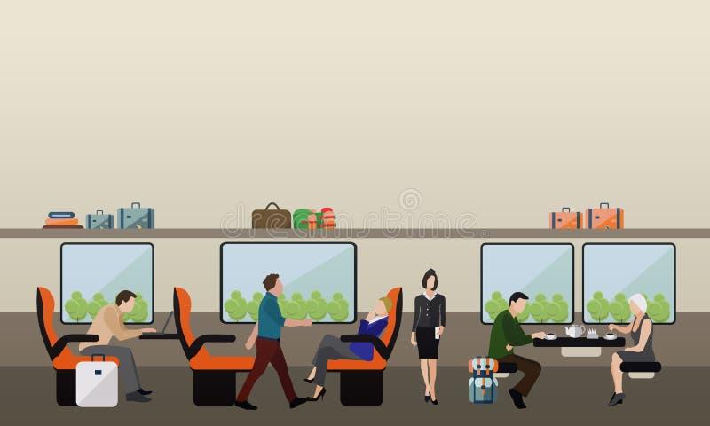 乘客公共交通工具概念传染媒介横幅 火车的人们 地铁和路轨内部 向量例证