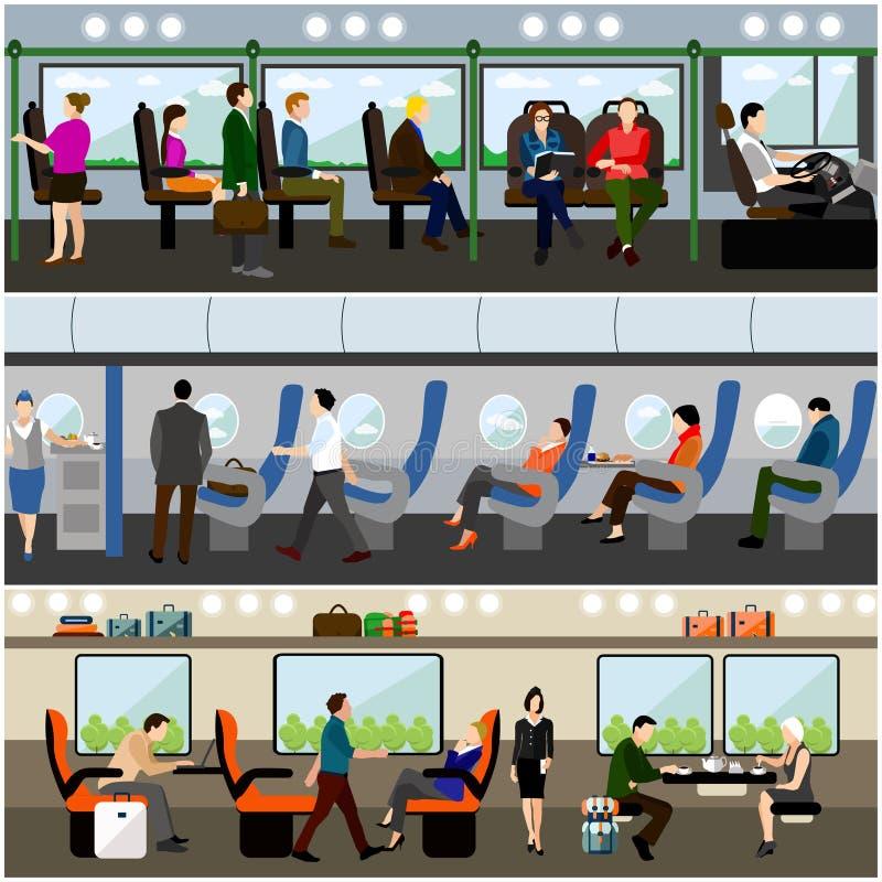 乘客公共交通工具概念被设置的传染媒介横幅 人们在公共汽车、火车和飞机上 运输内部 库存例证