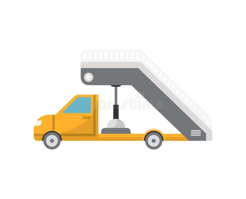 乘客平面搭乘象的装备长梯的消防车 皇族释放例证