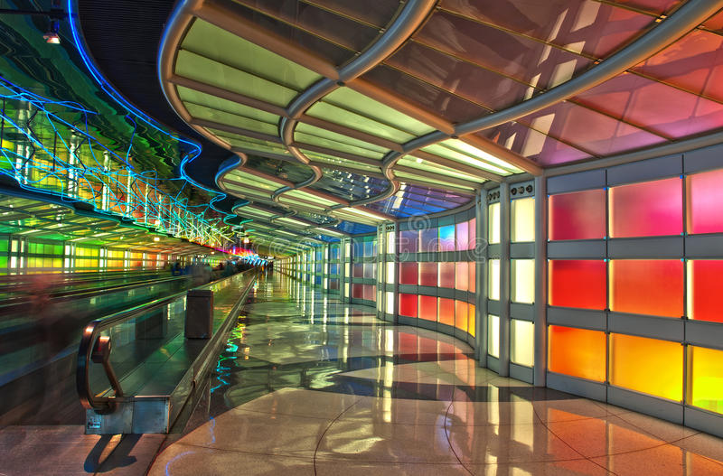 乘客隧道,芝加哥奥黑尔机场 库存图片