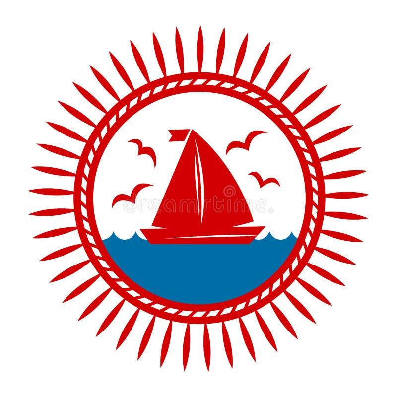 乘快艇在波浪和海鸥传染媒介象的小船 库存例证