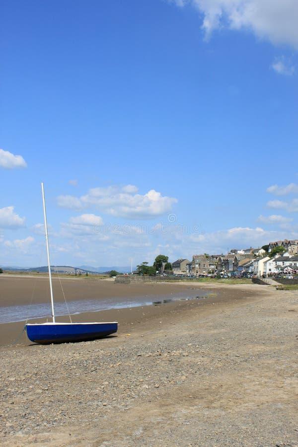 乘快艇在海滨在Arnside, Cumbria,英国。 库存图片