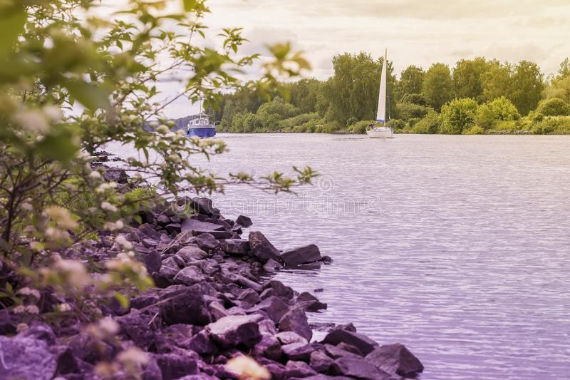 乘快艇并且运送在湖背景,在岸对面 Summer湖,与石头的海滩,夏天风景 季节,生态 库存照片