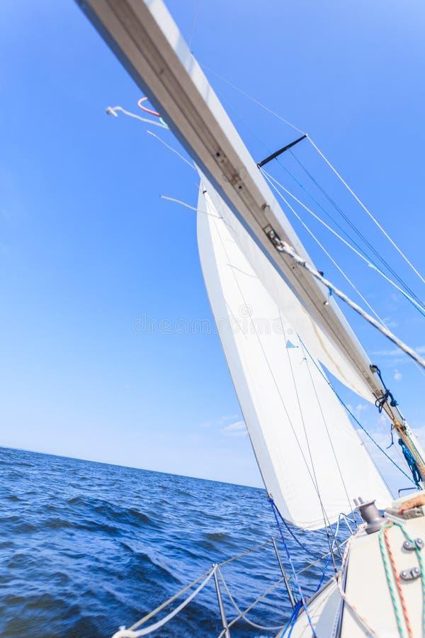乘快艇的游艇风船航行在海海洋 免版税库存图片