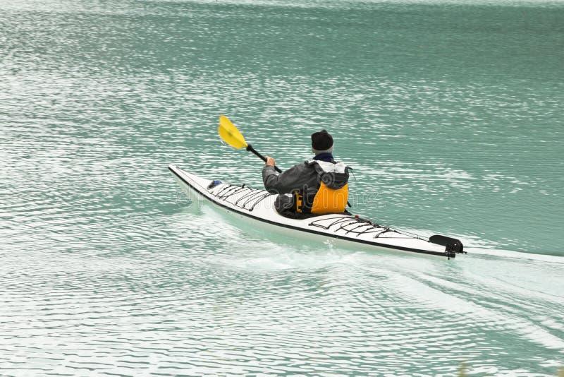 乘独木舟的湖壮观的路易斯 库存照片