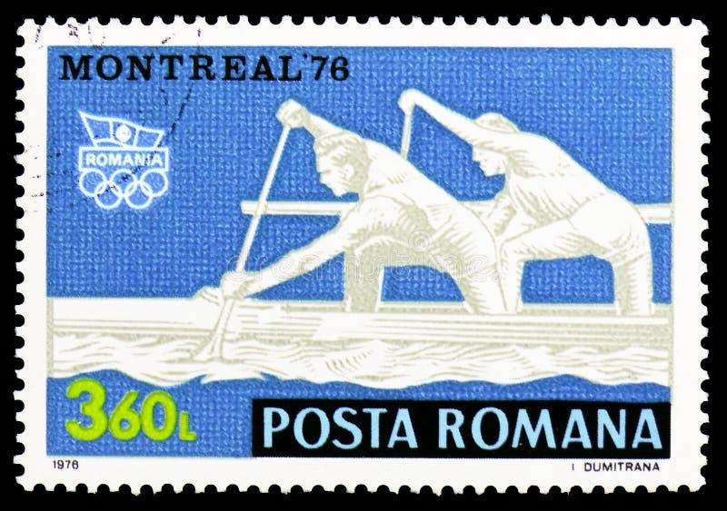 乘独木舟赛跑,夏季奥运会1976年,蒙特利尔serie,大约1976年 库存照片