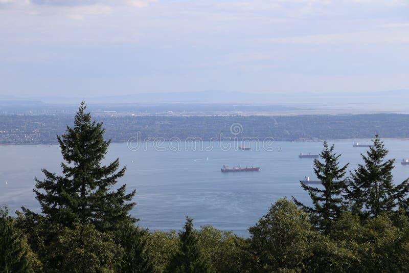 乘船旅行看美丽的温哥华,不列颠哥伦比亚省 库存图片