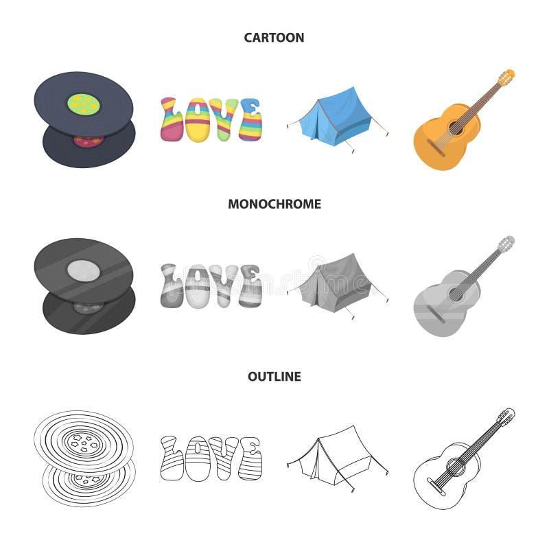 乙烯基圆盘,吉他,帐篷 在动画片,概述,单色样式传染媒介标志股票的嬉皮集合汇集象 皇族释放例证