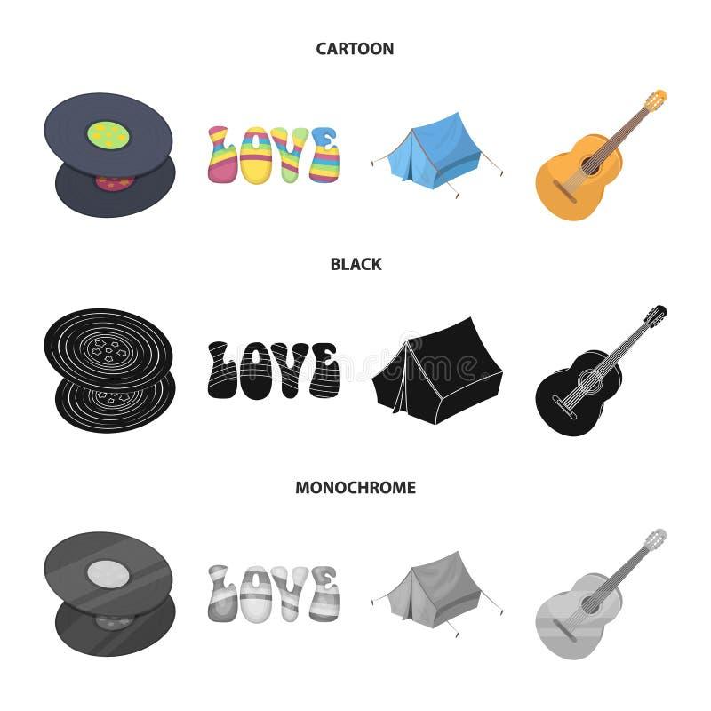乙烯基圆盘,吉他,帐篷 在动画片,黑色,单色样式传染媒介标志股票例证的嬉皮集合汇集象 库存例证