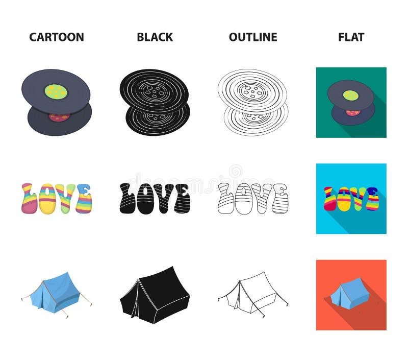 乙烯基圆盘,吉他,帐篷 在动画片,黑色,概述,平的样式传染媒介标志股票的嬉皮集合汇集象 皇族释放例证