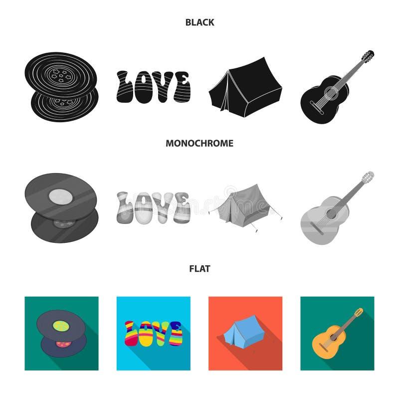 乙烯基圆盘,吉他,帐篷 在黑,平,单色样式传染媒介标志股票例证的嬉皮集合汇集象 库存例证